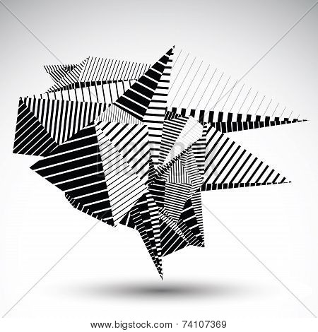 Cybernetic Contrast Element Constructed From Geometric Figures With Parallel Lines.