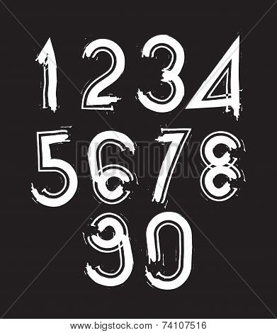White Handwritten Numbers, Vector Doodle Brushed Figures, Hand-painted numbers set With Brushstrokes
