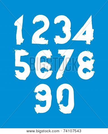 Vector Stylish Brush Digits, Handwritten Numerals, White Numbers Set On Blue Backdrop.
