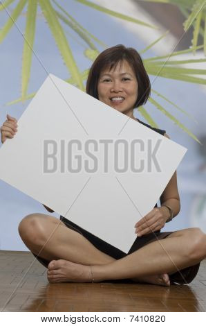 Woman Holding Whiteboard