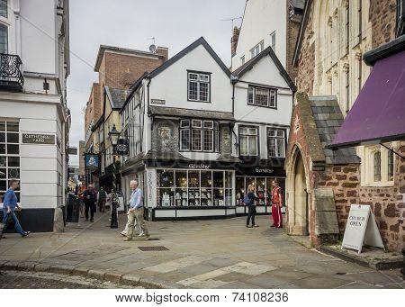 Catherine Street, Exeter, Devon, Uk