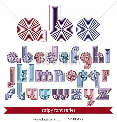 Elegant Unusual Striped Typescript, Colorful Lined Round Letters Isolated On White Background.