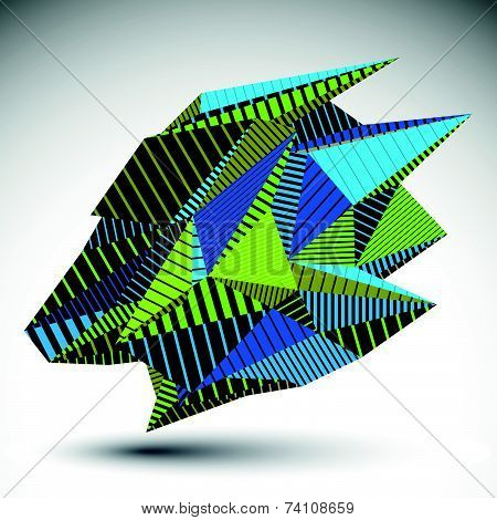 Complicated contrast eps8 figure constructed from triangles with parallel lines. Cybernetic striped