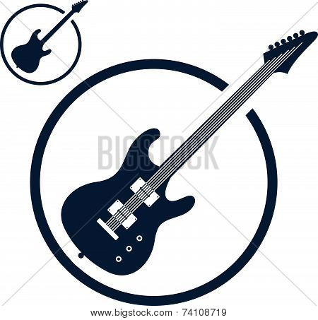 Electric guitar music icons isolated, music theme symbol for your design, 2 versions set.