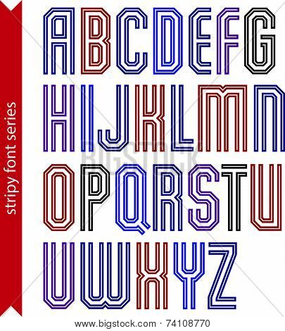 Red geometric font created from parallel straight lines.
