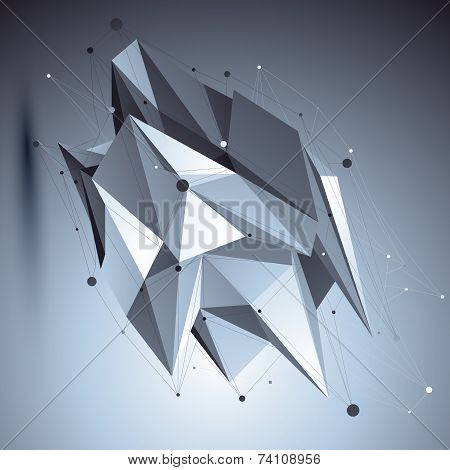 3D Vector Abstract Tech Cybernetic Illustration, Perspective Geometric Unusual Background