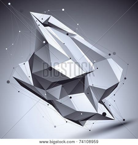3D Vector Abstract Technological Illustration, Perspective Geometric Contrast Background