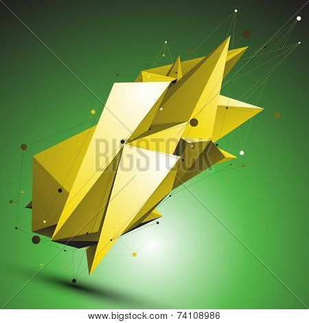 Gold Abstract Asymmetric Vector Object With Lines Mesh Over Green Background. Dimensional