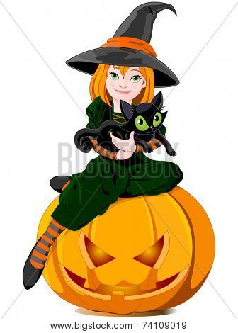 Halloween witch sits on pumpkin and holds black cat