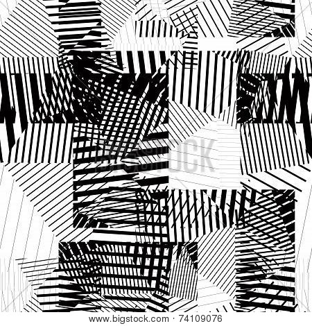 Black And White Endless Striped Tiling, Fashionable Textured Background.