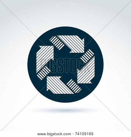 Loop Sign, Circulation And Rotation Icon. Vector Abstract Design Element With Parallel Stripes Place