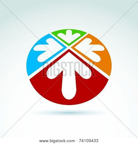 3d abstract emblem with four multidirectional arrows