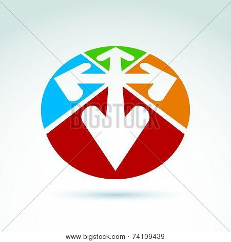 abstract round 3D icon with four arrow, abstract symbol, design element.