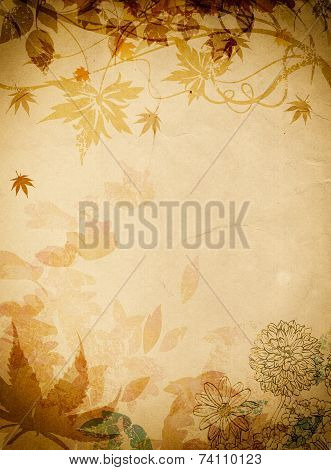 Grunge Floral Background.
