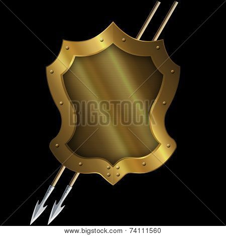 Medieval Gold Shield With Two Spears.