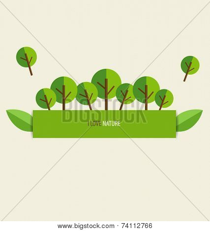 Nature banner, Paper with trees, vector illustration.