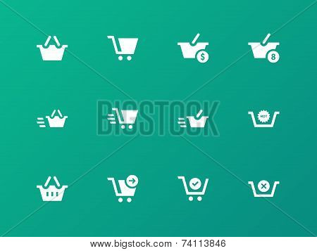 Checkout icons on green background.