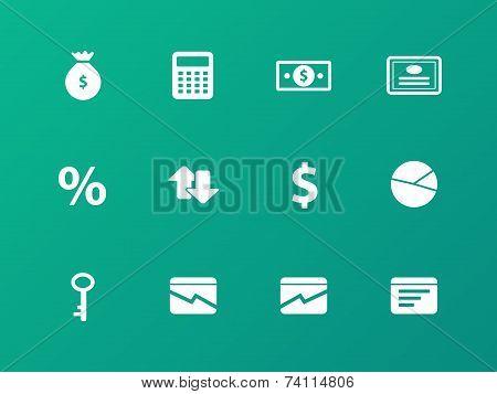 Economy icons on green background.