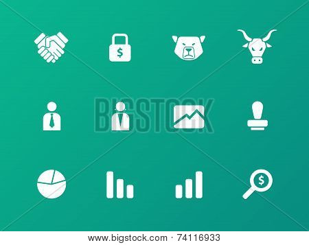 Finance icons on green background.