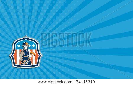 Business Card American Fireman Firefighter Fire Axe Shield
