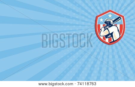 Business Card American Baseball Batter Hitter Shield Retro