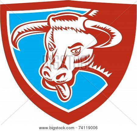 Angry Texas Longhorn Bull Head Shield Woodcut