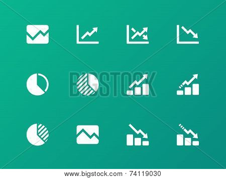 Line chart and Diagram icons on green background.