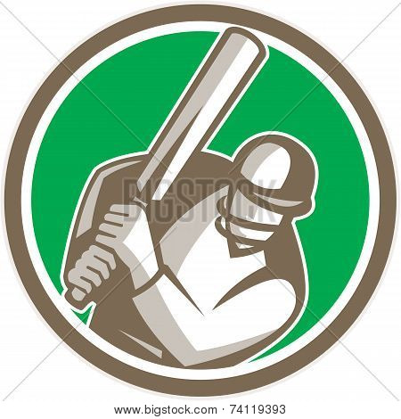 Cricket Player Batsman Batting Circle Retro