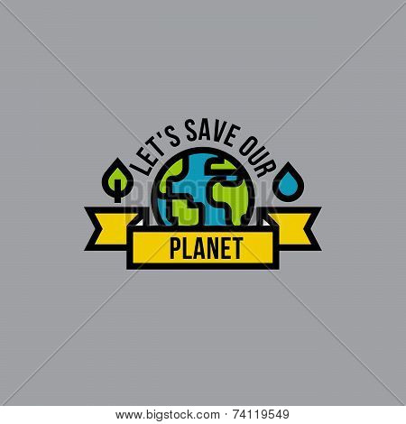 Environment Day Green Concept With Globe, Leaf And Drop