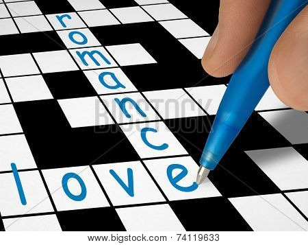 Crossword - love and romance, hand with pen