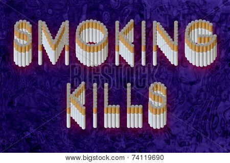 Words Smoking kills from cigarette