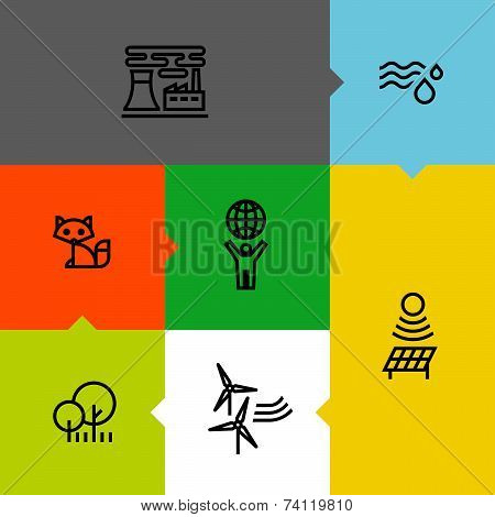 Ecology, Green, And Environment Line Icons Set