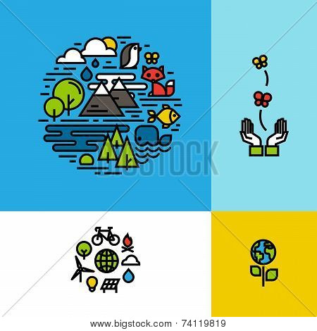 Environment, Ecology, Green Planet Colorful Concepts Set