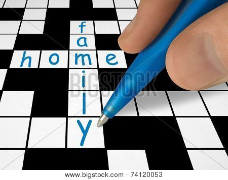 Crossword - family and home, hand with pen