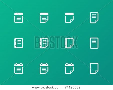 Notepad and sticky note icon set.
