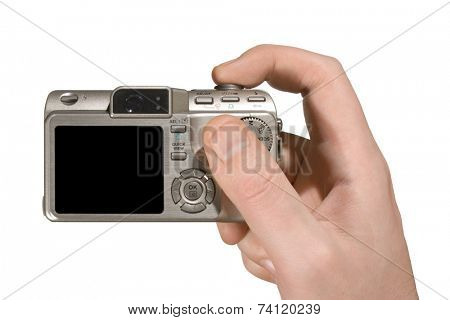 Compact camera in hand (isolated, white background)