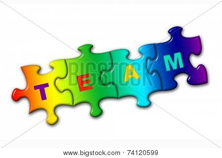 Word Team from puzzles, isolated on white