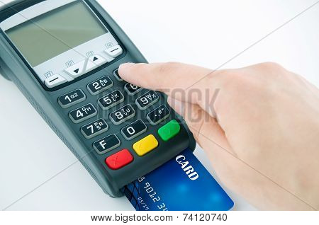 Man Using Payment Terminal Keypad, Enter Personal Identyfication Number