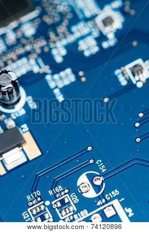Blue Pcb With A Lot Of Elecric Components