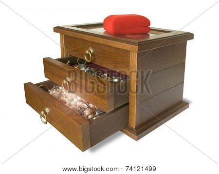 Open wooden casket with jewelry, isolated (white background)