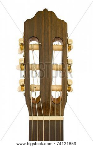 Acoustic guitar, close-up, isolated on white background