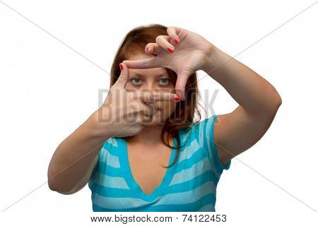 Girl looking through a frame, isolated on white background