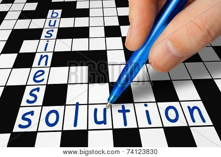 Hand filling in crossword - business and solution