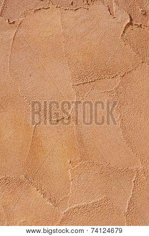 Orange Relief Plaster On Wall Closeup