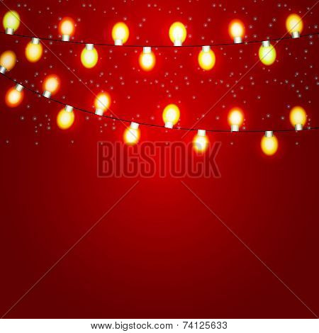 Christmas and New Year  Background with Luminous Garland Vector