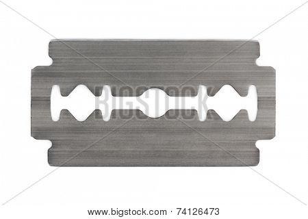 Macro of razor blade isolated on white background
