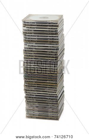 Stack of computer disks isolated on white background