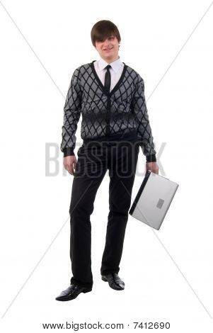 Young Man And Laptop. Studio Shoot Over White Background.