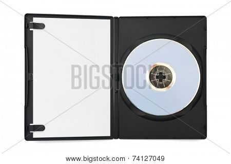 Computer dvd disk in case and empty paper isolated on white background
