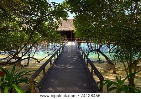 Pathway to water bungalow, travel background